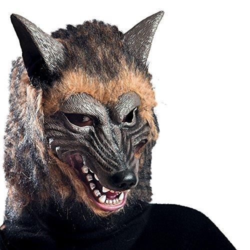 Máscara de goma Eva lobo con pelaje con encabezado, color marrón (1072)