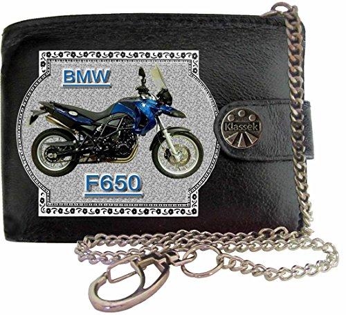 BMW F650GS Image sur portefeuille RFID pour hommes de marque KLASSEK vrai cuir avec chaîne Moto Bike cadeau d'accessoire avec boîte en métal produit BMW Non officiel