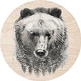 Cuadros Lifestyle 2D-Wandobjekt aus Holz | Bär | Bear | Wald | Wandteller | Holzbild | Shabby-Look | Landhaus | Vintage | Holzobjekt | Deko | Holzdruck | Geschenk, Größe:ca. 30x30cm
