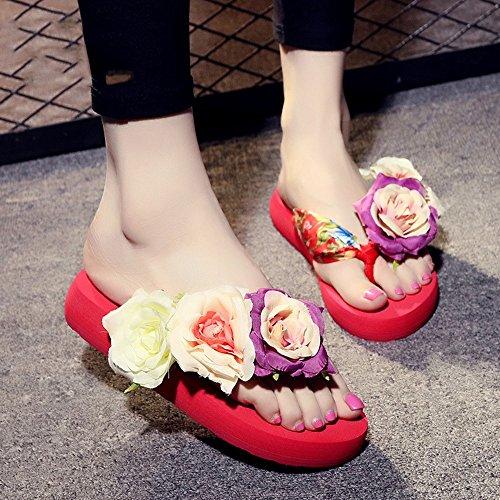 Estate Sandali 3.5cm sandali pistoni delle donne di estate di modo (beige, nero, blu, marrone, rosso, bianco) Colore / formato facoltativo Rosso