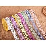 Multicolor Washi-Spitze-Muster Glitter Selbstklebende Spitze-Klebeband-Aufkleber für DIY und Dekoration, Set von 7