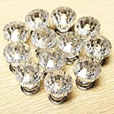 #7: 12 Pcs 25mm Crystal Glass Clear Cabinet Knob Drawer Pull Handle Kitchen Door Wardrobe Hardware