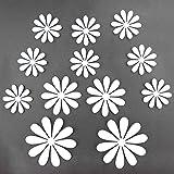 Winhappyhome Abnehmbarer 3D Selbstklebende Kunststoff Blumen Aufkleber für KüHlschrank Wand Hintergrund Dekor (Weiß)