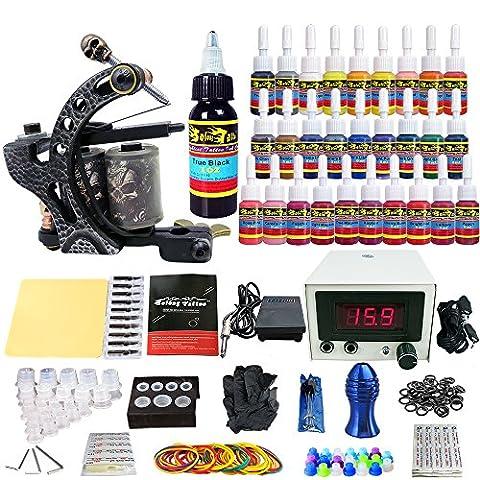 Solong Tattoo Kit de Tatouage complet 1 Machine Tatouer Professionnelle 28 Encres Power Supply Aiguille de Tatouage Tattoo Kit Set TKA01
