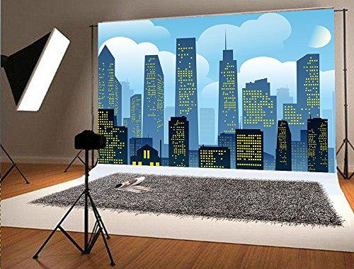 er City Fotografie Hintergrund Gebäude Cartoon Hintergrund Nacht Himmel Foto Hintergründe für Superheld Geburtstag (Superhelden-foto)