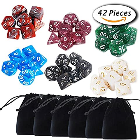 Paxcoo 6 x 7 (42 Stück) Polyhedral Würfel Set für Dungeons und Drachen DND RPG MTG D20 D12 D10 D8 D6 D4
