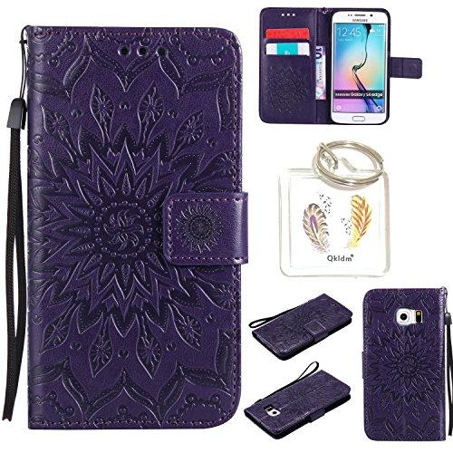 Preisvergleich Produktbild für Samsung Galaxy S6 Edge Geprägte Muster Handy PU Leder Silikon Schutzhülle Handy case Book Style Portemonnaie Design für Samsung Galaxy S6 Edge + Schlüsselanhänger / *20 (7)