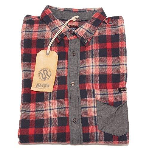 2535P camicia flanella quadri RARE camicia uomo shirt men FOR WINTER Rosso/Blu