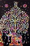 Handicrunch Elefant Baum Bildteppich, Good Luck White Elephant Teppich, Hippie Gypsy Wandbehang , Baum des Lebens Teppich, New Age Dorm Tapestry (Multi / Schwarz)