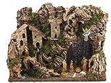 Bertoni Completo Paesaggio con Figure e luci a LED, in Legno, Taglia Unica