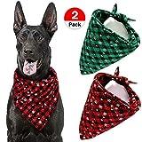 VAMEI Hunde-Halstuch,2Pack Weihnachten Kariertes Hunde- und Haustierhalstuch, Bandana für kleine, mittelgroße und große Hunde Katzen Custume