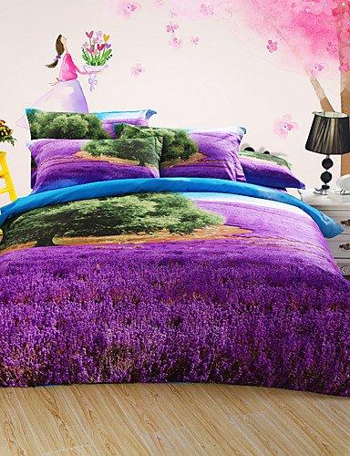 LIANGTT Vier Sätze Bettwäsche,Lavendel neue Ankunft Luxus 3D-Muster Bettwäsche-Sets Bettwäsche-Sets, Queen-Size, queen (Lavendel-bett-satz)