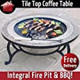 """Combined Fire Pit (76cm) and Coffee Table - """"Beacon Star"""" BBQ Grid, Spark Guard, Poker, Weather Cover"""