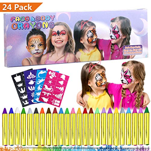 Emooqi Gesichtsfarbe, 24 Farben Kinder Schminkstifte Gesicht Körper Malerei Kits Sicher und Ungiftig Kinderschminke Set mit 4 Schablonen,Ideal für Fasching,Cosplay,Themenpartys - Geschenk für Kinder (Halloween Fancy Dress Diy-ideen)