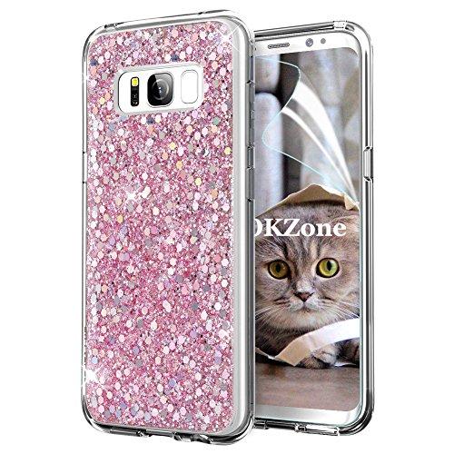 OKZone Cover Samsung Galaxy S8 Custodia Lucciante con Brillantini Glitters Ultra Sottile Designer Case Cover per Samsung Galaxy S8 (Rosa)