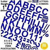 """Profesional juego de 122unidades x 1""""(2.5cm) autoadhesivo azul letras y números pegatinas libre signos de puntuación Washproof grandes letras SignWriting cualquier proyecto a prueba de agua"""