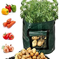 lilyshopingstore Grow Bags,7 Gallon Vegetables Garden Planter Potato Grow Bag with Access Flap, Raised Garden Bed for Planting Vegetables,Taro,Radish,Carrots,Onions Durable Bags(2 Pack)