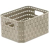 Rotho Country Panier de Rangement 2 l en Rotin, Plastique (PP) sans BPA, Cappuccino, A6/2 l (18,3 X 13,7 X 9,8 cm)