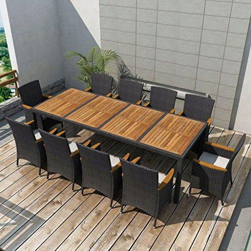 binzhoueushopping Jeu de mobilier de Jardin 21 pcs Noir Dimensions de la Table 250 x 100 x 74 cm (L x I x H) et Épaisseur du Coussin 5 cm Résine tressée mobilier Design