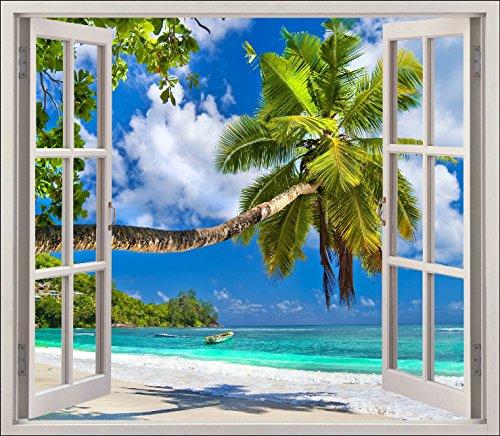 Stickersnews 5441 - adesivo trompe l'oeil per finestra, soggetto: spiaggia con palma, 120x105cm