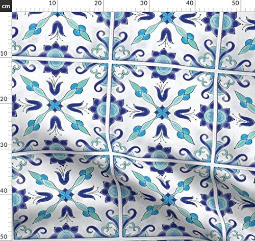 Spanische Fliesen, Marokkanisch, Maurisch, Türkis, Schwimmbecken, Küche Stoffe - Individuell Bedruckt von Spoonflower - Design von Juniperr Gedruckt auf Bio Musselin