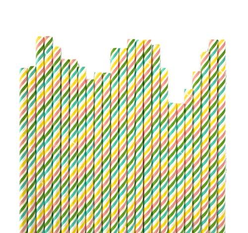 Bunte Regenbogen Streifen Papier-Strohhalme für Einhorn- und Regenbogen-Partys (Zirkus-themen-tisch-dekorationen)