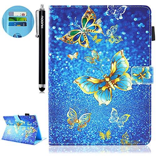 HUDDU Gold Schmetterling Muster Blau Schutzhülle für Huawei MediaPad M3 Lite 10 Hülle Flip Tasche Leder Smart Case Cover Lederhülle HUAWEI MediaPad M3 lite (10,1 Zoll) Tablette Niedlich für Kinder