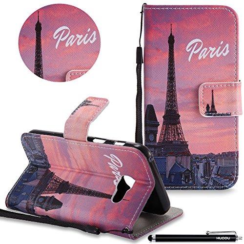HUDDU Compatible for Paris Handyhülle Samsung Galaxy A3 2017 Hülle Flip Cover Wallet Case Ledertasche Kartenfach Magnet Stand Lederhülle Etui Handytaschen Schutzhülle Tasche Leder Klapphülle Bunt