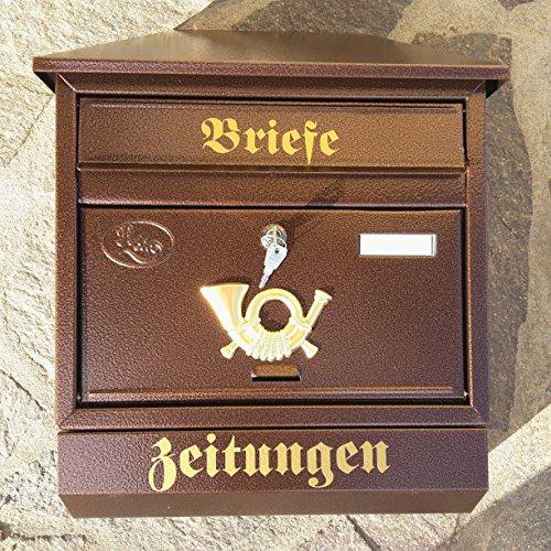 Großer Briefkasten / Postkasten XXL Kupfer / Bronce mit Zeitungsrolle Zeitungsfach Schrägdach Trapezdach - 5