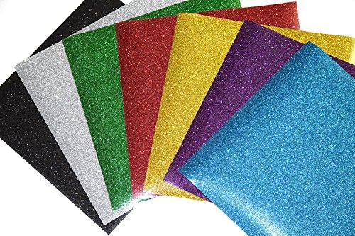 10 Blatt Vinyl Selbstklebefolie Transferpapier Vinylfolien T-Shirt Folie Transferfolie Textilfolie Glitzer zum Aufbügeln auf Textilien DIY(Zufällige Farben)