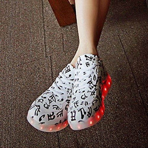 (Present:kleines Handtuch)JUNGLEST® Unisex Erwachsene 7 Farben LED leuchtende Mode Sportschuhe Party Weiß