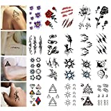 Temporäre Tattoo Aufkleber, 20-Pack wasserdicht abnehmbare Tattoos Aufkleber Fake Tattoo einfach anzuwenden und langlebig für Männer Frauen Mädchen und Jungen, verschiedene Muster Design