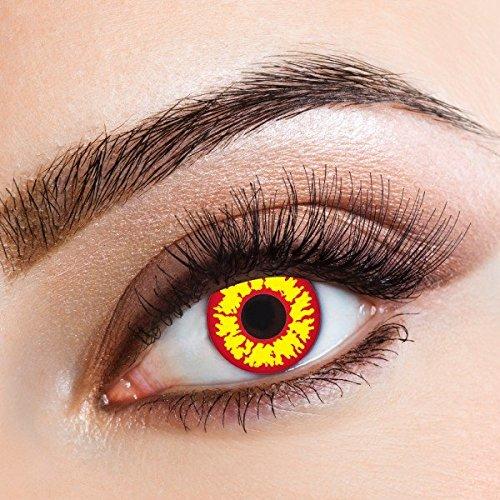 aricona Farbige Kontaktlinsen Fire Alarm - Deckende 12-Monatslinsen, bunte Farblinsen für Karneval & Halloween