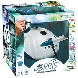 Orbis Airbrush Power Studio, Kinder Airbrush-Set mit Kompressor, Airbrush ganz einfach, für Papier, coole Tattoos für die Haut, Farben für verschiedene Untergründe, einfacher Farbwechsel ohne Reinigung - 30010