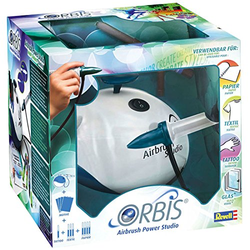 Orbis Airbrush Power Studio, Kinder Airbrush-Set mit Kompressor, Airbrush ganz einfach, für Papier, coole Tattoos für die Haut, Farben für verschiedene Untergründe, einfacher Farbwechsel ohne Reinigung - 30010 (E-power Maschine)