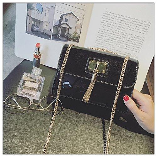Mini-Tasche Damen Kette Lackleder Quaste Kleine Quadratische Tasche Schulter Messenger Bag Schwarz