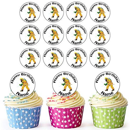 Vorgeschnittener Personalisierter Cartoon Feuerwehrmann - Essbare Cupcake Topper / Kuchendekorationen (24 Stück)