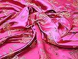 Chinesischer Satin Drache Brokat Kleid Stoff Cerise