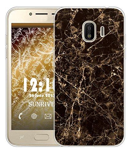 Sunrive Coque pour Samsung Galaxy Grand Prime Pro (2018)/J2 Pro 2018 5,0 Pouces, Silicone Étui Housse Protecteur Souple TPU Gel Transparent Back Case(TPU Marbre Noir)+ Stylet OFFERTS