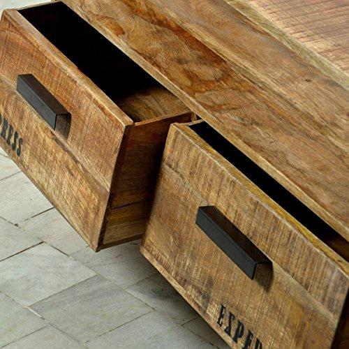 TV-Lowboard TV-Board Romsdal, Retro Vintage Design, Massivholz Mangoholz Natur, Breite 140 cm, Tiefe 40 cm, Höhe 52 cm - 4