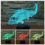 3D Visual Optical Illusion LED Lampe Nachtlichter,KINGCOO Verstellbar 7 Farben Schreibtischlampen Acryl Licht Atmosphäre Touch Tischlampe,Geschenk für Weihnachten(Hubschrauber)
