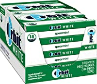 Orbit Chewing Gum, White Spearmint, Tear Pack, 18-Count (8 Count)