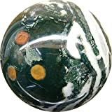 Aldomin Moss Agate & Tree Agate Mix Stone Healing Crystal Sphere (382.50 Grams)