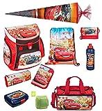 Disney Cars Schulranzen Set 10tlg. Sporttasche, Schultüte 85cm, Scooli Campus Up, Regen/Sicherheitshülle