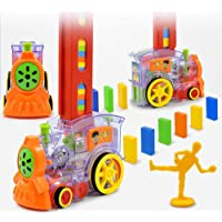 Toyshine 120 Pcs Domino Train Toy Set, Domino Rally Train Model with Lights and Sounds Construction and Stacking Toys