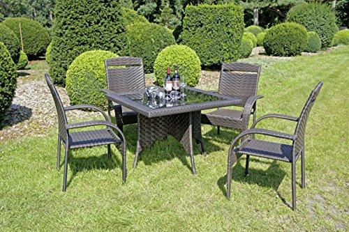 VARILANDO Stapelssessel mit Armlehnen aus dunkelbraunem Kunststoffgeflecht Stapelstuhl Gartenstuhl