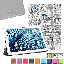 BeePole Lenovo Tab 2 A10-30/A10-70F Funda - Funda protectora inteligente triple de cuero PU para Lenovo Tab 2 A10-30 / A10-30F / A10-70 / A10-70F, con soporte y función magnética despertador/apagado automática, Mapa(Azul)