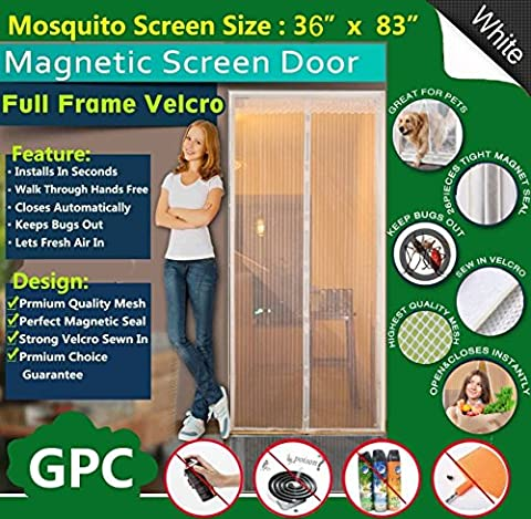 Queen Rose Magnetic Fly Screen Door Net,Automatically Shut Mesh Curtain Top-to-Bottom With Strong Full Frame Velcro,Keeps Bugs/Mosquitoes Out,Lets Fresh Air In,100% Hands Free,Fits Door Up To 34