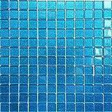 Vidrio Mosaico Azulejos para pared. Color es Azul con purpurina (mt0008) (30cm x 30cm Matte)