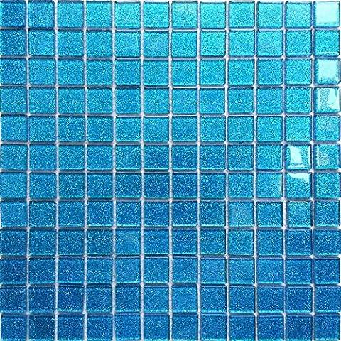 Carrelage mosaïque en verre. Bleu Avec des paillettes. Les feuilles entières de carreaux mesurent 30cm x 30cm (MT0008)